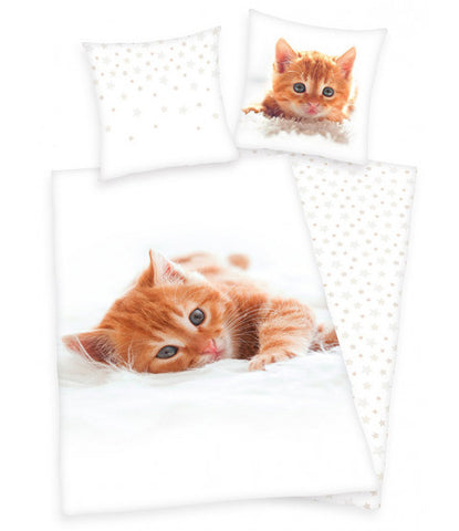 Kitten Single Cotton Duvet Cover and Pillowcase Set