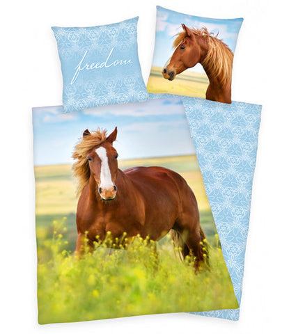 Freedom Horse Single Duvet Cover and Pillowcase Set
