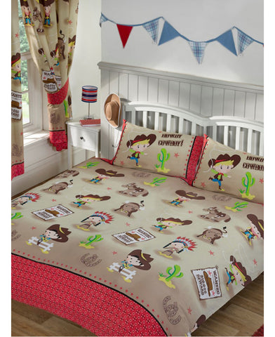 Howdy Cowboy Double/Queen Duvet Cover And Pillowcase Set