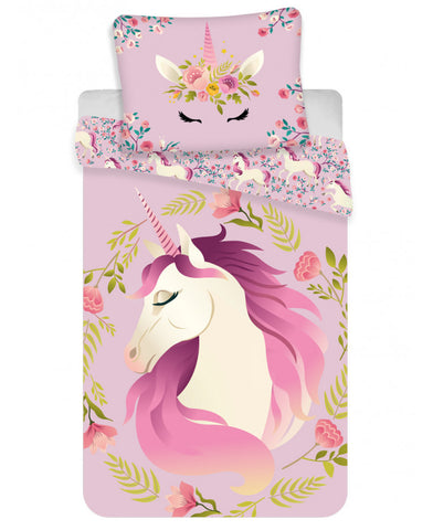 Unicorn Flowers Single Cotton Duvet Cover Set