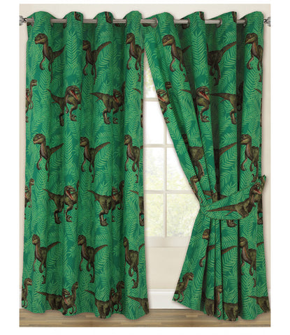 Jurassic Predators Dinosaur Eyelet Curtains 66in wide (168cm) x 72in drop (183cm)