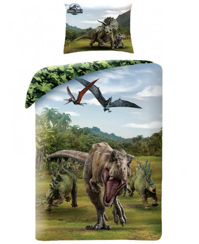 Jurassic World Green Single Duvet Cover Set