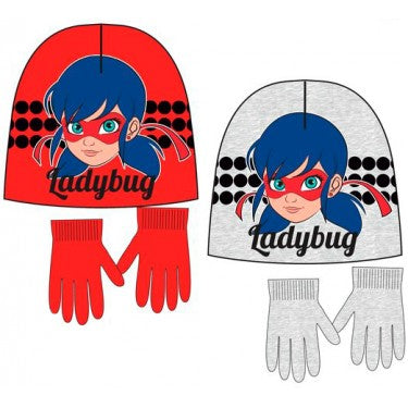 Miraculous Ladybug Glitter mask Winter Beanie/Hat set