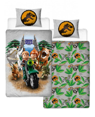 Lego Jurassic World Dinosaur Single Duvet Cover Set