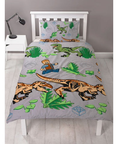 Lego Jurassic World Foliage Single Duvet Cover Set