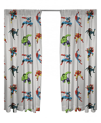 Marvel Avengers/Comics Grey Curtains 66in wide (168cm) x 54in drop (137cm)