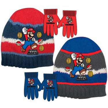 Super Mario Brothers Knitted Beanie/Winter Hat and Gloves set