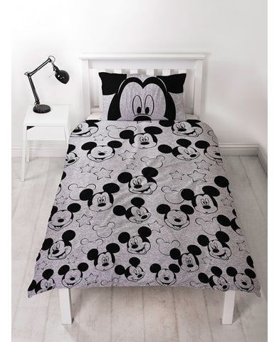 Mickey Mouse Silhouette Single Duvet Cover and Pillowcase Set
