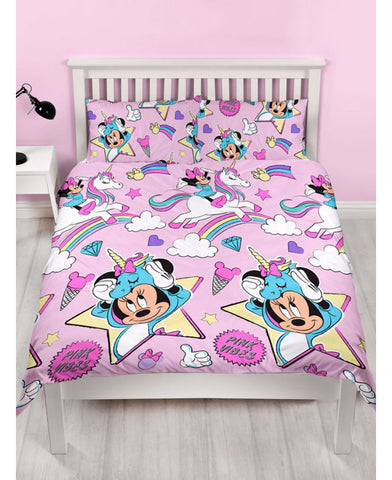 Minnie Mouse Unicorns Double/ Queen Duvet Cover and Pillowcase Set