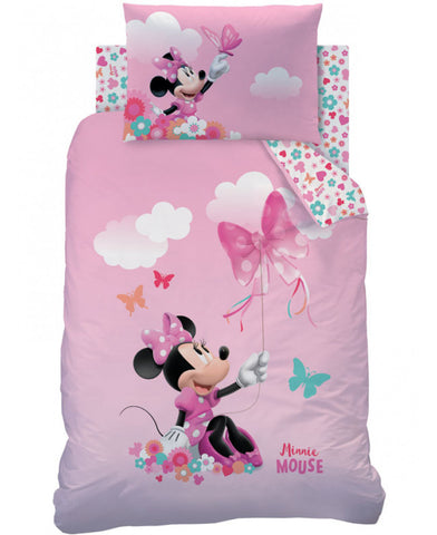 Minnie Mouse Papillon Cot bed/Junior/Toddler Duvet Cover And Pillowcase Set