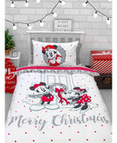 Mickey and Minnie Mouse Cozy Christmas Single Duvet Cover Set