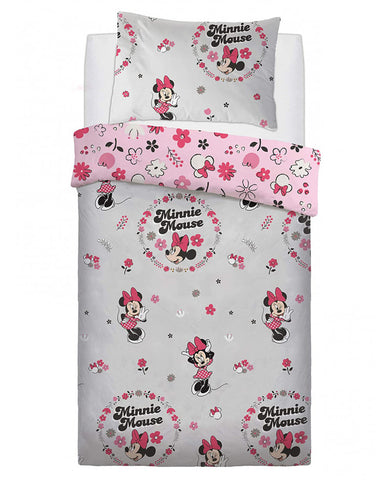 Minnie Mouse Floral Wink Single Duvet Cover Set