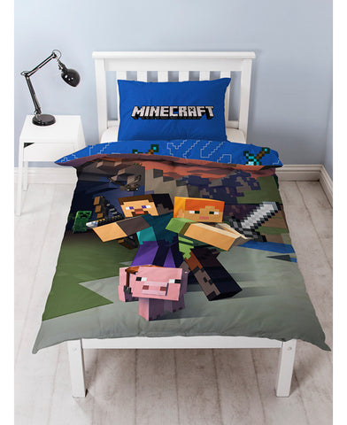 *NEW* Minecraft Single Duvet Cover and Pillowcase Set