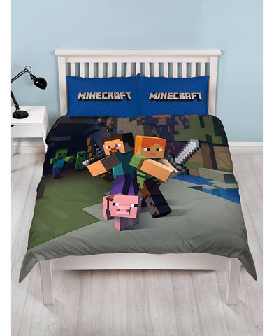 *NEW* Minecraft Cotton mix Double/Queen Duvet Cover and Pillowcase Set