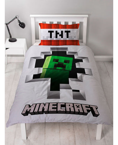*NEW* Minecraft Creeper Single Reversible Duvet Cover Set