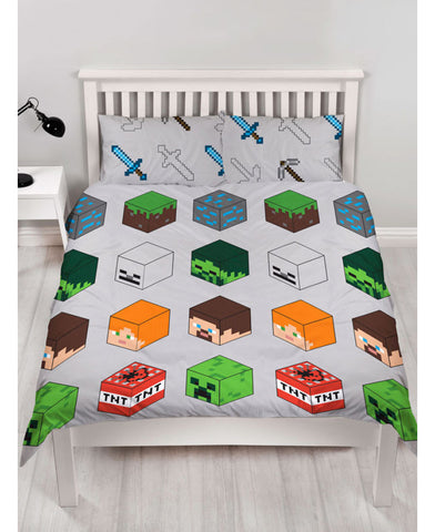 Minecraft Pixels Double Duvet Cover and Pillowcase Set