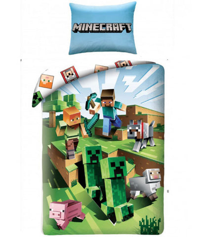 Minecraft Battle Single Cotton Duvet Cover Set - European pillowcase