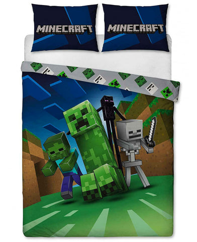 Minecraft Creeps Double/ Queen Duvet Cover and Pillowcase Set