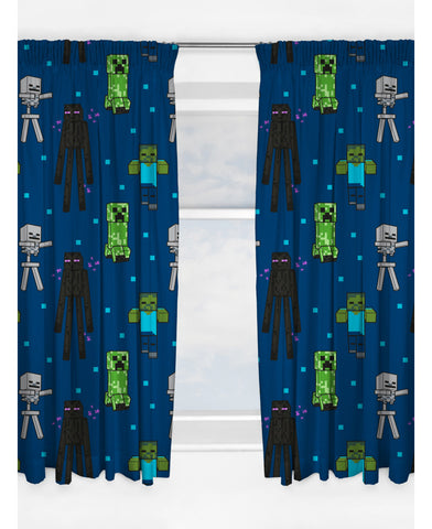 Minecraft Creeps Curtains - 66in wide (168cm) x 54in drop (137cm)