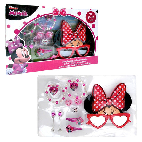 Minnie Mouse hair accessories, jewellery and 3D sunglasses gift set