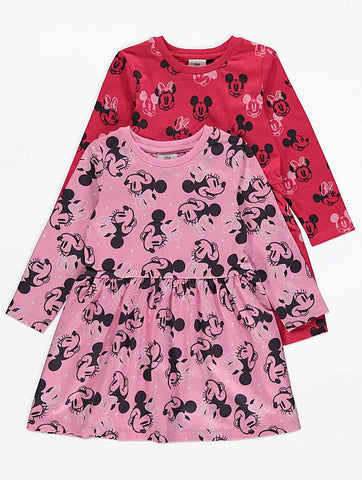 Minnie Mouse Pink/Red Jersey Dress 2 Pack