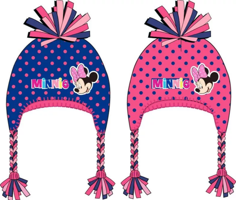Minnie Mouse Polka Dot  Winter Beanie / Bobble Hat with Braids