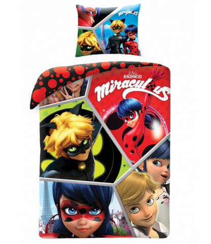 Miraculous Hero Ladybug Single Duvet Cover and Pillowcase Set
