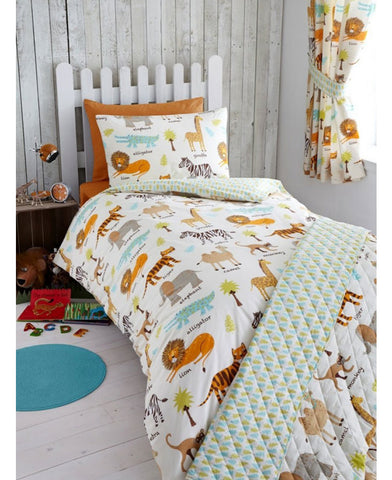 My Safari Animals Single Duvet Cover and Pillowcase Set