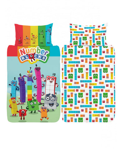 Number blocks Single Duvet Cover and Pillowcase Set