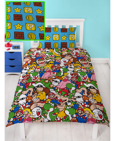 Nintendo Super Mario Gang Single Duvet Cover Set