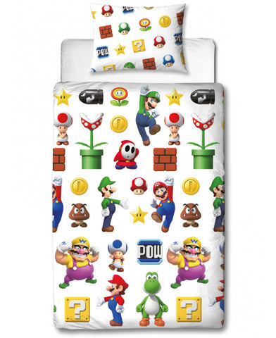 Nintendo Super Mario Lineup Single Duvet Cover Set