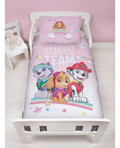 Paw Patrol Pastels Junior Toddler Duvet Cover and Pillowcase Set </br> PRE-ORDER