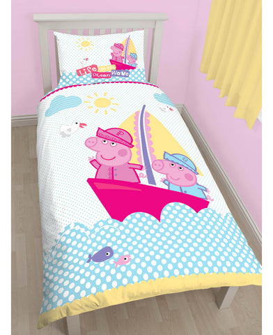 Peppa Pig Nautical Single Duvet Cover And Pillowcase Set