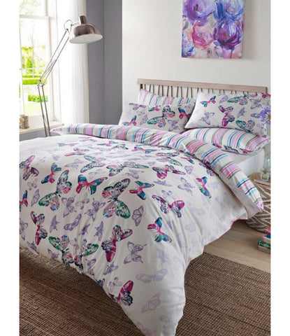 Watercolour Butterfly Double/Queen Duvet Cover and Pillowcase Set