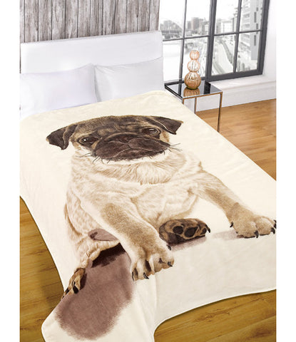 Luxury Faux Fur Pug Design Throw Blanket 150cm x 200cm