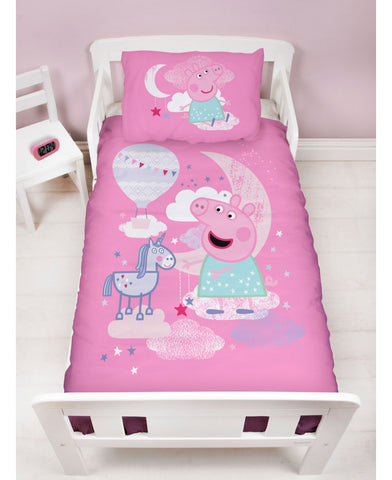 Peppa Pig Stardust Cot bed/Toddler/ Junior Toddler Duvet Cover Set