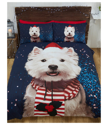Christmas Westie Dog Double/Queen Duvet Cover and Pillowcase Set