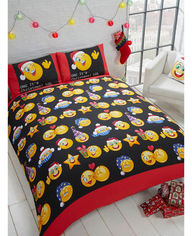 Emoji Icons Christmas Double/Queen Duvet Cover Bedding Set