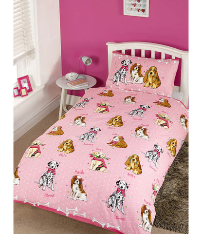 Doggies Pink cot/Junior/toddler Duvet Cover and Pillowcase Set