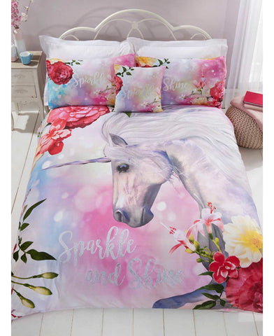 *NEW* Unicorn Shine Glitter effect Single bed Duvet cover set