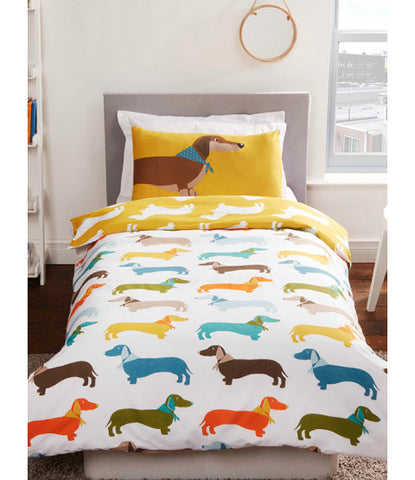 Sausage Dog Single Duvet Cover and Pillowcase Set