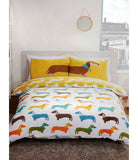 Sausage Dog King Size Duvet Cover and Pillowcase Set