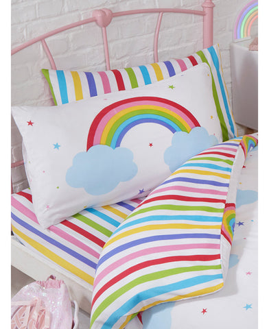 Rainbow Sky Striped Toddler Fitted Sheet and Pillowcase Set