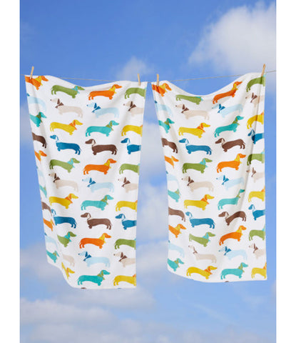 Sausage Dog Towel White