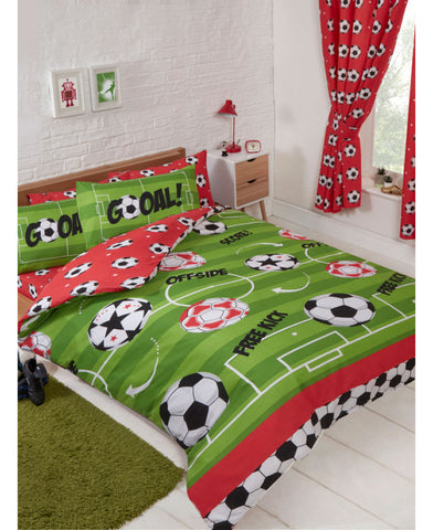 Football Red Double Duvet Cover and Pillowcase Set