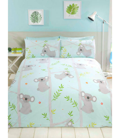 Koala Fun Single Duvet Cover Set Blue / Grey