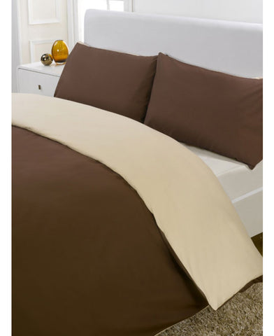 Reversible Chocolate & Cream Single Duvet Cover Set
