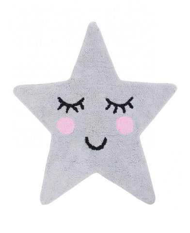 Sweet Dreams Grey Star Shaped Floor Rug
