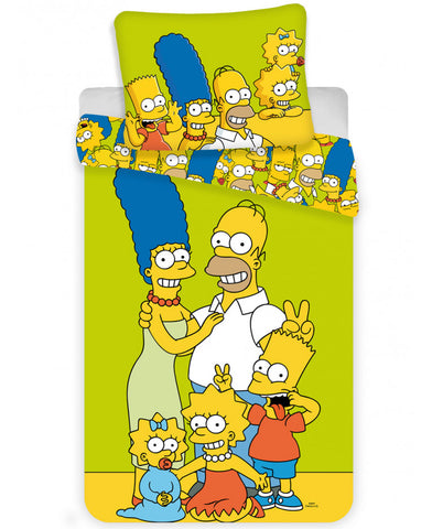 Simpsons Green Single Cotton Duvet Cover Set