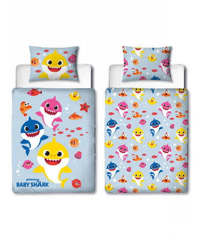 Baby Shark Cot/Toddler/Junior Duvet Cover and Pillowcase Set